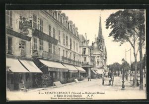 AK Chatellerault, Boulevard Blossac et Eglise St-Jean-Baptiste