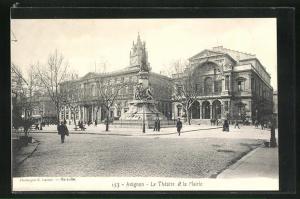 AK Avignon, Le Theatre et la Mairie
