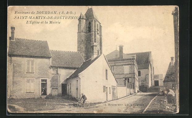 AK Saint-Martin-de-Bréthencourt, L`Eglise et la Mairie 0