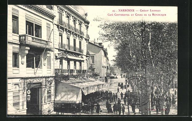 AK Narbonne, Café Continetal et Cours de la Republique 0