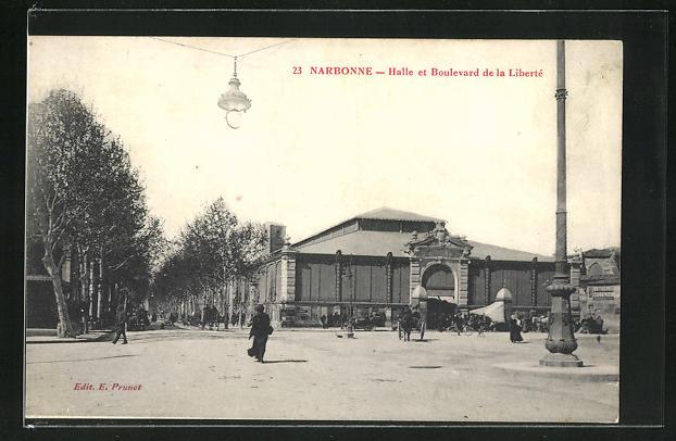 AK Narbonne, Halle et Boulevard de la Liberté 0