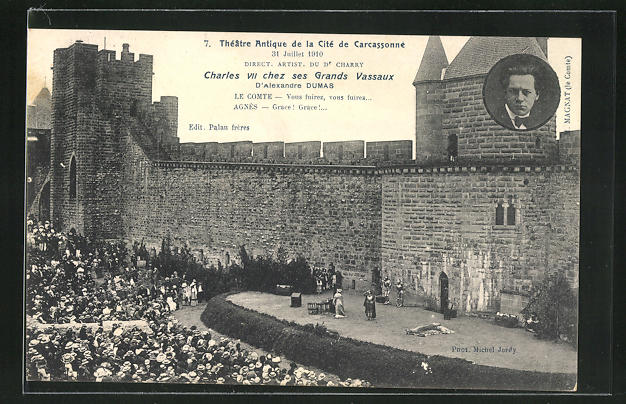 AK Carcassonne, Theatre Antique de la Cite 1910, Charles VII. chez ses Grands Vassaux 0
