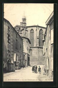 AK Montferrand, La rue Montorcier et l'Eglise