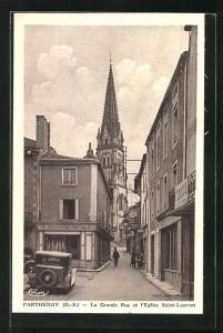 AK Parthenay, La Grande Rue et l'Eglise Saint-Laurent