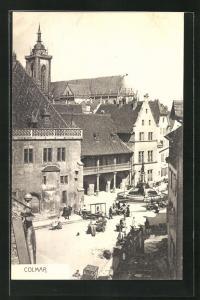 AK Colmar, Le Kaufhaus avec Cathedrale et Fontaine Schwendi