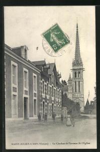 AK Saint-Julien-l'Ars, Le Clocher et l'avenue de l'Eglise