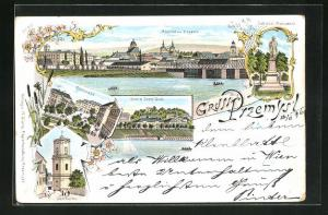 Lithographie Przemysl, Ringplatz, Franz Josef Quai, Uhrturm, Sobieski Monument