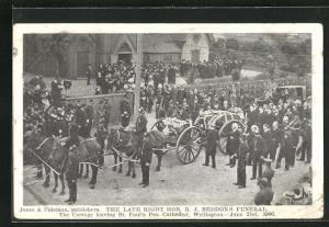 AK Wellington, The late right Hon. R. J. Seddons funeral, The Cortege leaving St. Paul`s Pro. Cathedral