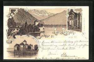 Lithographie Chillon, Lac Leman, Le souterrain