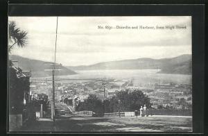 AK Dunedin, Blick zum Hafen von High Street