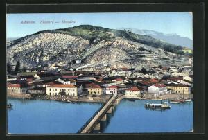 AK Skutari / Shkodra, Panoramablick mit Brücke