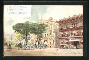 Lithographie Singapore, Raffles Square, Partie mit Rikschas