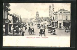 AK Singapore, North-Bridge Road, Strassenpartie mit Rikschas