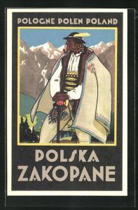 Künstler-AK Zakopane, Indianer in Tracht im Gebirge stehend