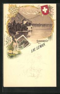Künstler-AK Chillon, am Ufer des Lac Leman