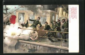 Künstler-AK Der Tod des Admirals Marakoff, Russisch-Japanischer Krieg