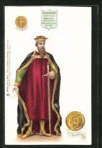 Künstler-AK König Edward III. von England mit Krone und Schwert