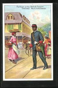 AK Trinidad-West India Islands, Postmen of the British Empire, Briefträger überquert die Strasse