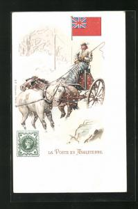 AK Angleterre, La Poste, Briefträger im Schnee mit einem Pferdegespann, Briefmarke und Flagge