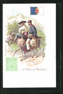 AK Portugal, La Poste, Briefträger reitet auf einem Esel, Briefmarke und Flagge