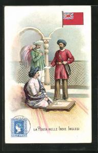 AK Indie Inglesi, La Posta, Postbote überbringt einen Brief, Briefmarke und Flagge