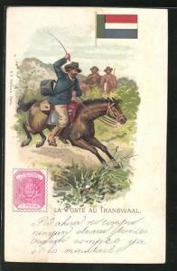AK Transwaal, La Poste, Briefträger reitet auf seinem Pferd, Briefmarke und Flagge