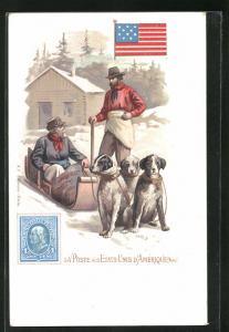 AK Etats-Unis d`Amerique, La Poste, Briefträger mit einem Hundeschlitten, Briefmarke und Flagge