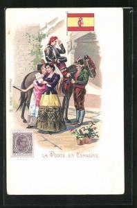 AK Espagne, La Poste, Frauen erhalten einen Brief, Briefmarke und Flagge