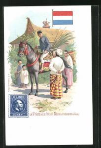 AK Java, La Poste, Briefträger auf seinem Pferd, Briefmarke und Flagge