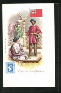 AK Indes Anglaises, La Poste, Postbote überbringt einen Brief, Briefmarke und Flagge