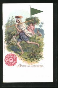 AK Cachemire, La Poste, Briefträger läuft durch den Wald, Wimpel und Siegel