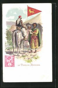 AK Abyssinie, La Poste, Mann erhält einen Brief, Wimpel und Briefmarke