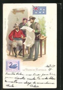 AK Australie, La Poste, Briefträger mit Zeitung bei einem Ehepaar, Briefmarke und Flagge