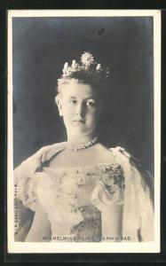 AK Portrait Wilhelmine von den Niederlanden