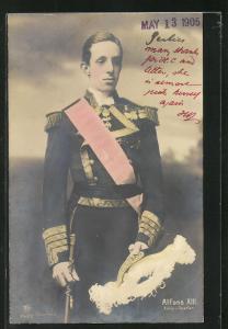 AK König Alfons XIII. von Spanien in Uniform