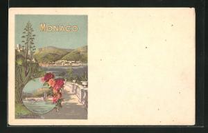 Künstler-AK Monaco, Blick von Ballustrada auf Ort und Meer, Thermes Valentia, Rosen