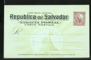 AK El Salvador, Tarjeta Postal, Ganzsache 3 Centavos