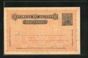 AK El Salvador, Tarjeta Postal, Ganzsache 2 Centavos
