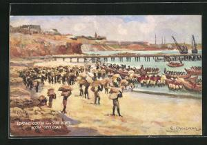 Künstler-AK Accra / Gold Coast, Loading Cocoa into Surf Boats