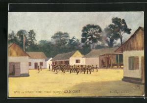 Künstler-AK Kibbi / Gold Coast, Boys on Parade, Kibbi Trade School