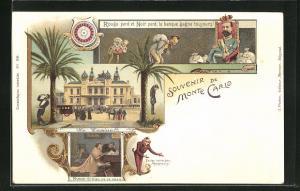 Lithographie Monte Carlo, Le Casino, Faites votre jeu Messieurs, Ruine Rien ne va plus
