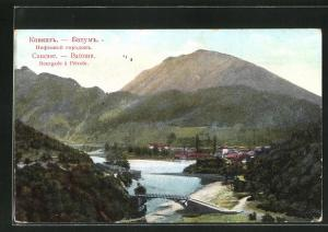 AK Batoum, Bourgade a Petrole, Blick auf Brücke über Fluss mit Berg