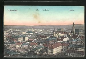 AK Cluj, Vedere, Ortsansicht über Häuser, Kirchen und Fluss mit Brücke