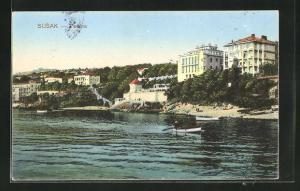AK Susak, Pecine, Blick vom Meer auf Villen