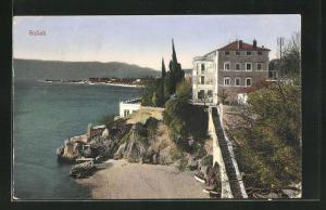 AK Susak, Teilansicht auf Bucht mit langer Treppe zu Villa und Landschaft