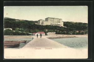 AK Crikvenica, Hotel Therapia, Steg mit Blick zum Strand und Boote