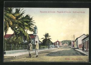 AK Cúcuta, Strassenpartie im Ortskern mit Kirche