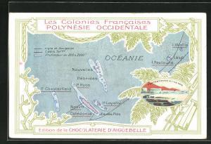 AK Ozeanien, Landkarte mit Neuen Hebriden, Neukaledonien und Chesterfield Inseln