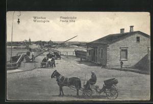 AK Windau, Kutschen warten auf die Fähre