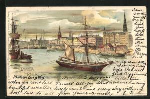 Lithographie Riga, Schiffe auf der Düna